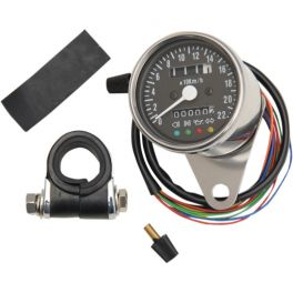 BLACK FACE MINI MECHANICAL SPEEDOMETER WITH LED INDICATORS - 2210-0207
