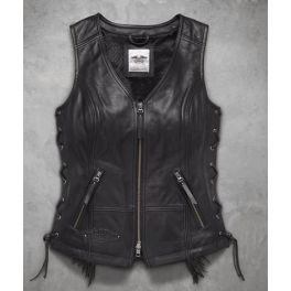 Women's Boone Fringed Leather Vest - LCS9801418VW