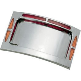 BAGGER WERX CHROME CURVED LED LICENSE PLATE FRAME