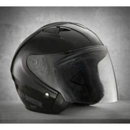 MEN'S 3/4 HELMET WITH SHIELD GLOSS BLACK