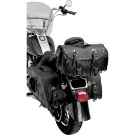 LARGE TRAVELER BIKE RACK BAG WITH RIVETS AND FRINGE