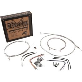 "Braided Stainless Steel Cable/Brake Line Kit For 14"" Gorilla Bars   0610-0746"