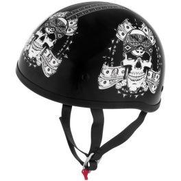Skid Lid Original Thug Skull Black and White Half Helmet