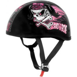 Skid Lid Original Bad To The Bone Black and Pink Half Helmet