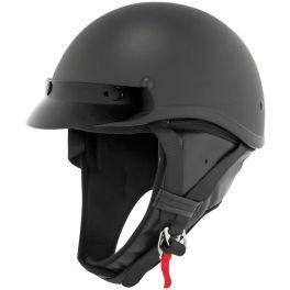 Skid Lid Flat Black Classic Touring Half Helmet