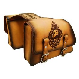 5acfa6700 UNIVERSAL THROW OVER SADDLE BAG SET ANTIQUE TAN LEATHER LUCKY SPADE SKULL  ORSBTO0219LRD