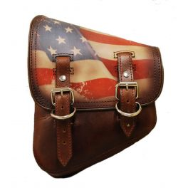 SOFTAIL LEFT SIDE LEATHER SADDLE BAG - ANTIQUE BROWN WITH PRINTED AMERICAN FLAG SSBBL06US