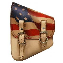 SOFTAIL LEFT SIDE LEATHER SADDLE BAG - WITH PRINTED AMERICAN FLAG SSBBL02US