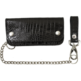 HEAVY BLACK ALLIGATOR LEATHER HAND-MADE BIKER WALLET WITH CHAIN SLBW0501