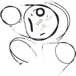 BLACK VINYL/STAINLESS COMPLETE HANDLEBAR CABLE AND BRAKE LINE KIT 0610-1335